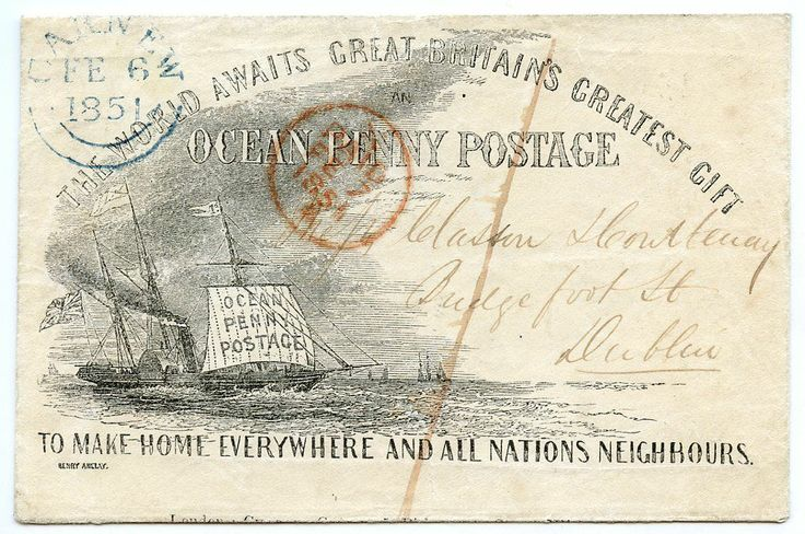 """1851 Gilpin's """"Ocean Penny Postage"""" envelope from CARNEW Ireland to Dublin #stamps #postalhistory #postcard"""