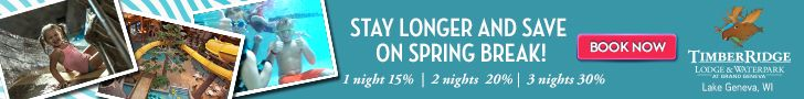 #ThinkSpring!! The longer you stay, the more you will save.  Get 15%, 20% or even 30% off your stay on select dates. Spring Break at Timber Ridge at Grand Geneva. #waterpark #familyvacation #SpringBreak Click here for details and to book ==>