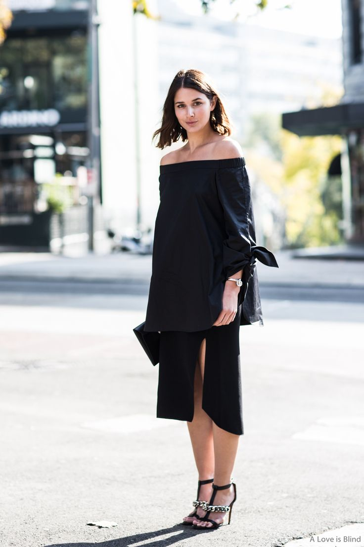 Off the shoulder, black, chic outfit