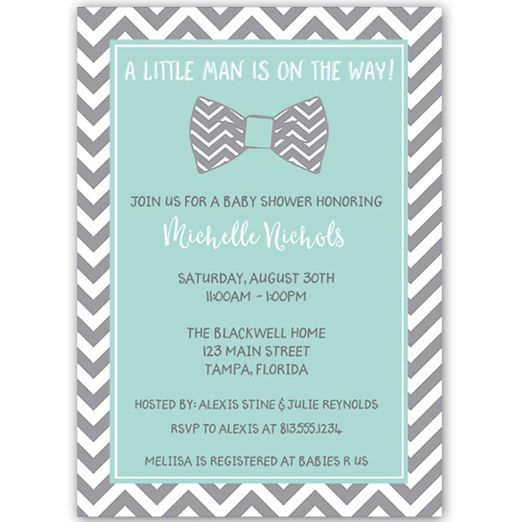 Bowtie Baby Aqua Baby Shower Invitation