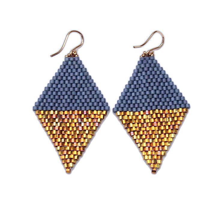 diamond drop earrings, color block