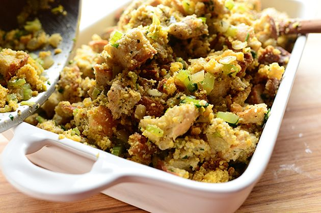 Thanksgiving dressing (or stuffing, if you put it in the bird) is a wildly personal thing. Some versions are light and airy, and can almost be tossed around with a spoon. Other dressings bake up fi...