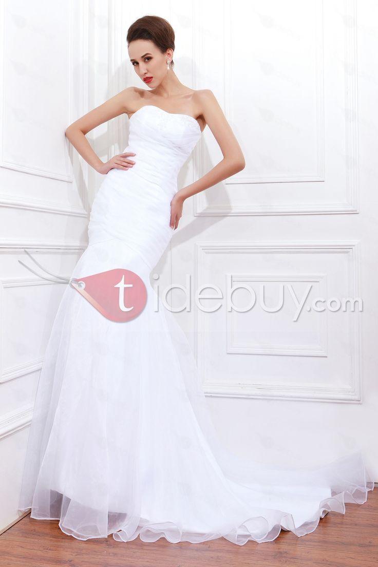 Brillante Robe de mariée Trompette/Sirène Sans Bretelle Plis Longueur Sol     (Livraison gratuite)