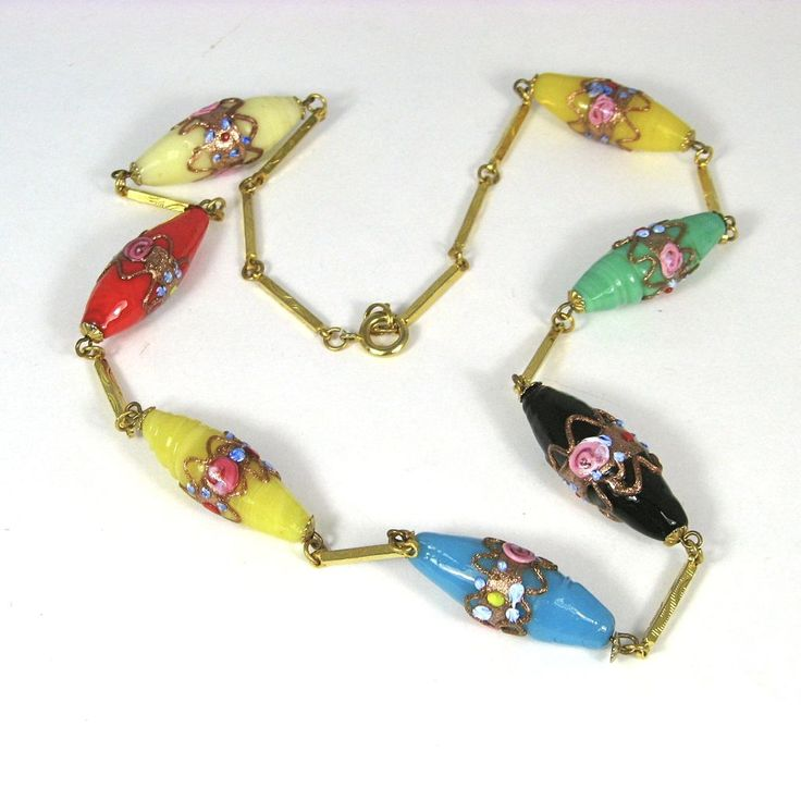 Vintage Murano Wedding Cake Glass Bead Necklace is offered by the Vingtage Jewelry Boutique on Ruby Lane