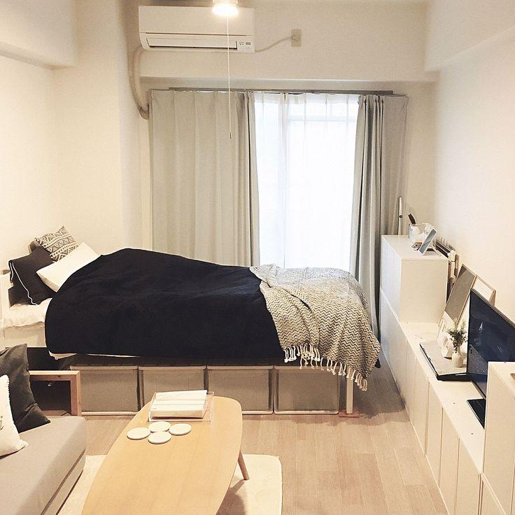 部屋全体 ホワイトインテリア 一人暮らし 1k ネイビー などのインテリア実例 2017 10 06 16 14 21 Roomclip ルームクリップ インテリア インテリア 一人暮らし インテリアデザイン