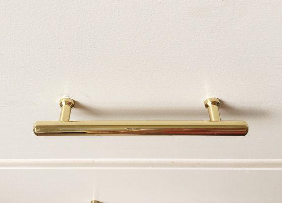 Tara T-Bar Polished Brass Cabinet Pull Kitchen Drawer Pull ...
