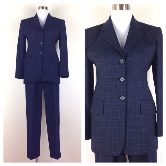 "⚫️VNTG 80s Ralph Lauren Suit For rockstars only! Get in on this hot vintage trend! Navy blue wool 80s suit w/ grid pattern. Lined w/ purpley silky acetate. Blazer features square shoulder pads, back vent, flap pockets, cuff buttons & 3 button closure. High waisted tapered trousers w/ side pockets & cuffs. It simply doesn't get any better friends. Excellent condition: no defects. Amazing fabric & cut. Trousers: Waist:26"". Hips:44"" (roomy). Rise:12.5"". Inseam:26"". Jacket: Shoulders:16""…"