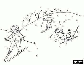 Coloriage Scène typique d'hiver avec des enfants faint du ski à la montagne