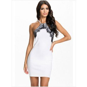 White Sleeveless Off-the-shoulder Splicing Lace Dress