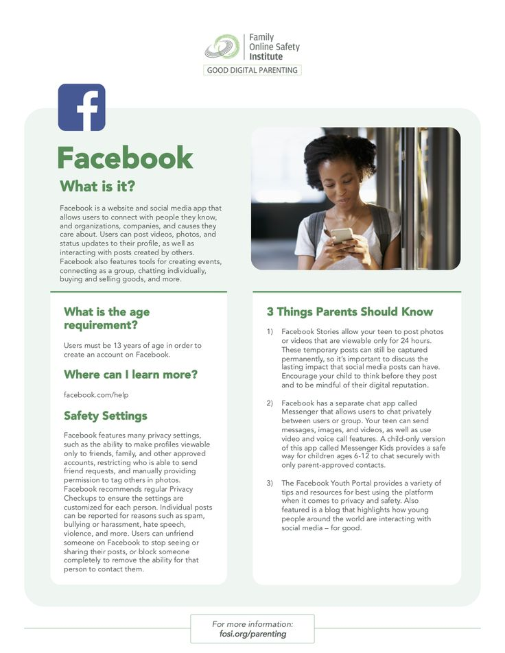 Good Digital Parenting App Tip Sheet What is Facebook