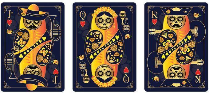 Hearts court cards from CALAVERAS DE AZÚCAR Playing Cards (BLUE Deck) that is currently on Kickstarter.    https://www.kickstarter.com/projects/393497409/calaveras-de-azucar-playing-cards