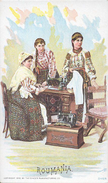 Romania Gallery / Roumania Women Singer Sewing Machine 1892 Trade Card