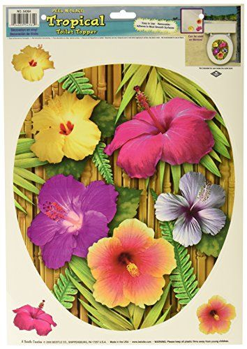 Tropical Toilet Topper Peel N Place 3 hibiscus included Party Accessory  1 count 1Sh *** Want to know more, click on the image. Note:It is Affiliate Link to Amazon.