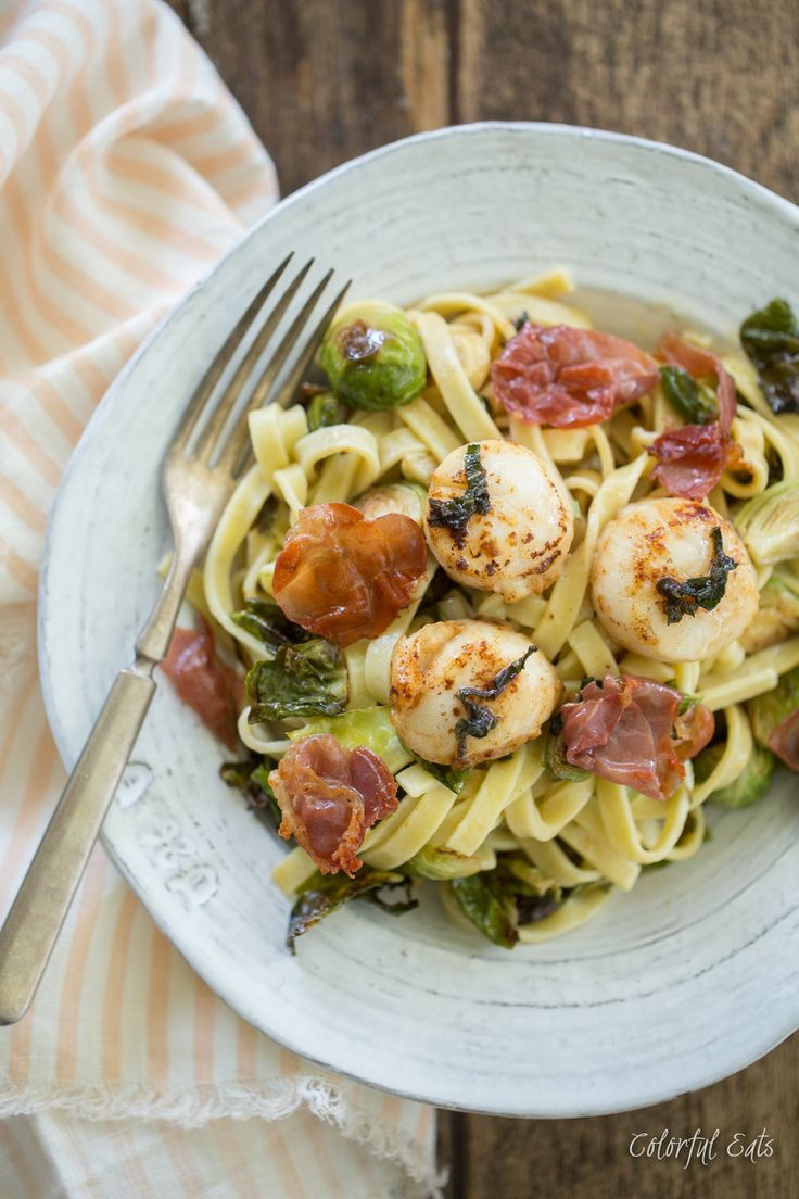 Paleo Browned Butter Sea Scallop Pasta With Sage Brussels Sprouts Crispy Prosciutto By Colorful