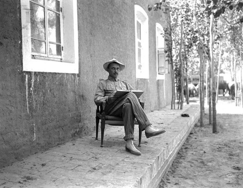 Carl Gustav Emil Mannerheim (who woul later be leader of White forces during Finnish Civil War, Commander in Chief of Finnish Army during WWII) outside his temporary residence in Kashgar during his expedition to China, 1906/7.    photo credit: Dagbok förd under min resa i Centralasien och Kina 1906-07-08, 3 vol
