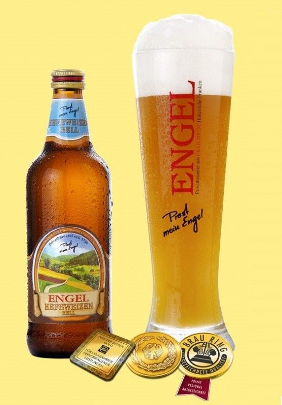 Cerveja Engel Hefeweizen Hell, estilo German Weizen, produzida por Biermanufaktur Engel, Alemanha. 5.2% ABV de álcool.