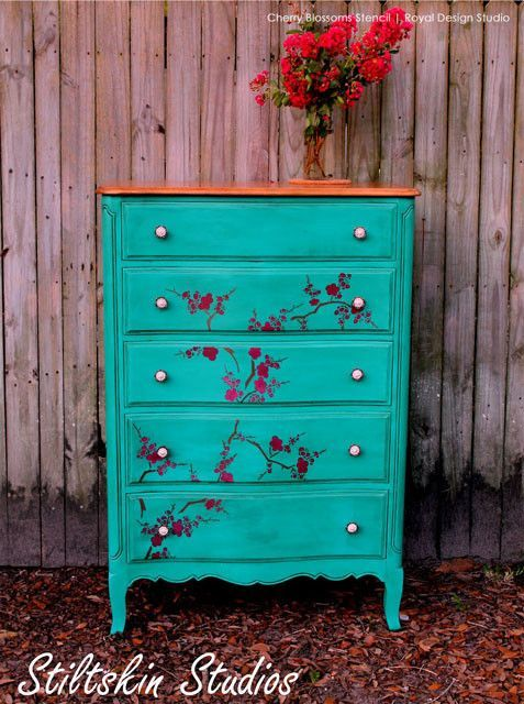 Cherry Blossoms Stencil by Royal Design Studio - Painted Furniture Projects with Asian Design