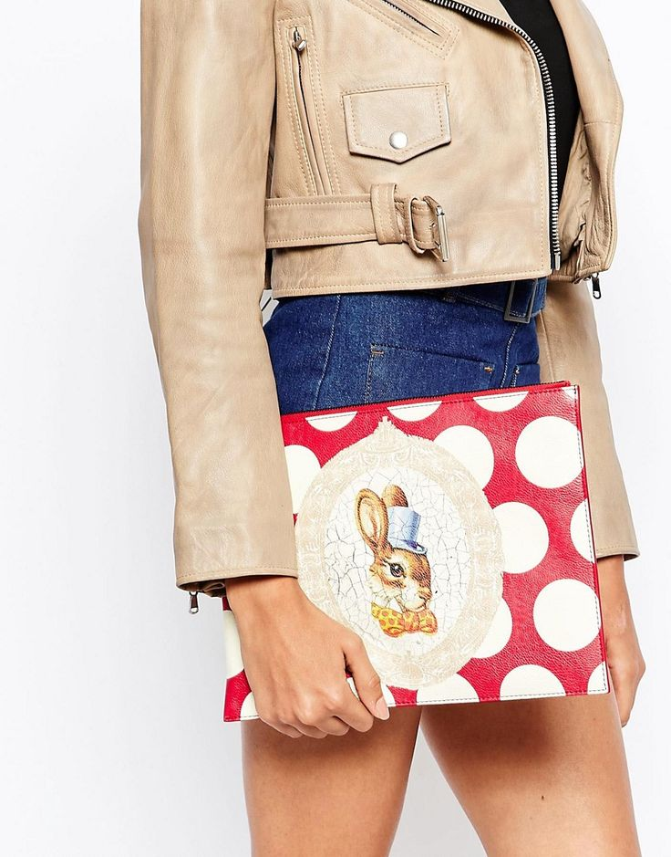 Image 3 of Vivienne Westwood Clutch Bag with Bunny Rabbit in Red