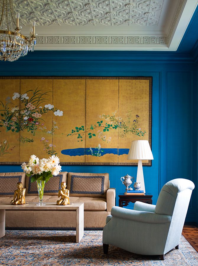 Formal Turquoise Salon With Chinoiserie Leanings