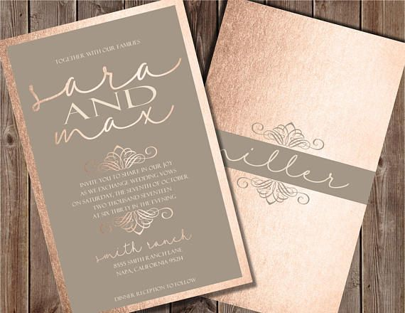 blush and gray wedding invitation blush wedding invitation - Rose Gold Wedding Invitations