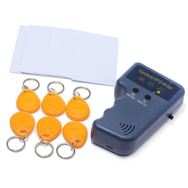 Computadora De Mano 125 KHz EM4100 RFID Escritor Duplicadora Dni Copiadora con 6 Etiquetas Grabables + 6 Tarjetas Grabables