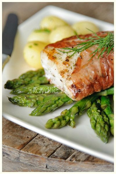 Cod with Parma Ham & Asparagus #glutenfree #cod and if made with olive oil instead of butter #dairyfree