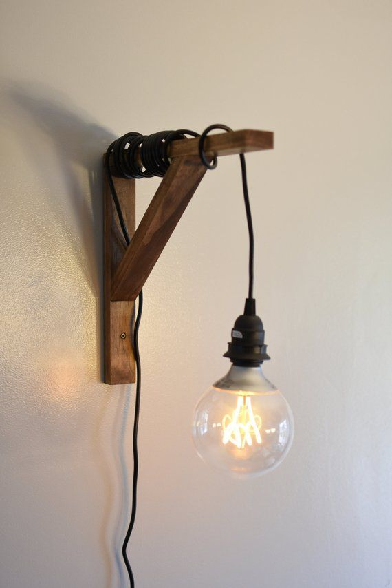 Wooden Sconce Lighting With Edison Style Light Bulb Wall Etsy Sconce Lighting Wooden Sconces Light Hanger