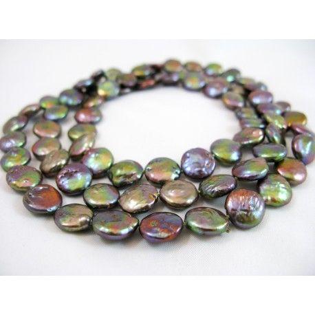 Water Garden, pearl necklace. Metallic gray freshwater pearl necklace. Pearl size 10,5 mm. Height 84 cm. No lock.