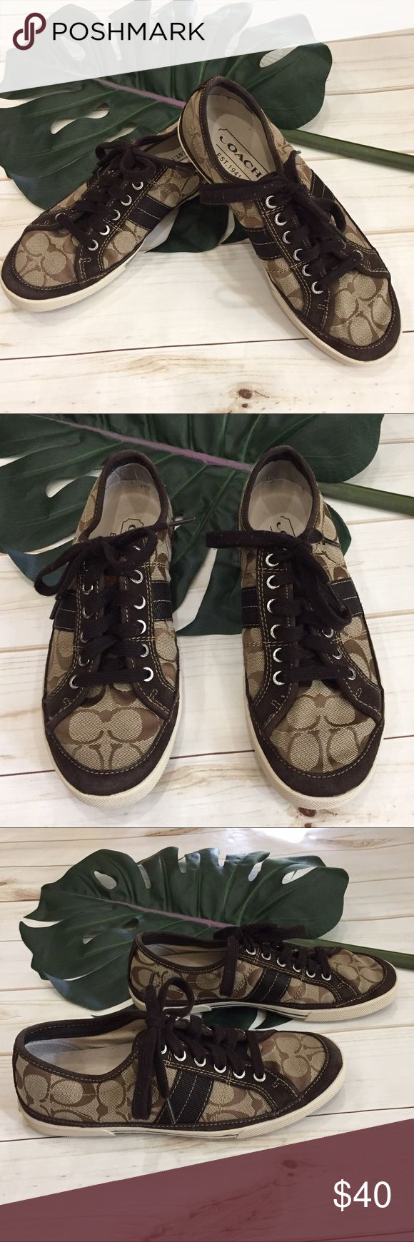 "👞MEN'S Coach ""Paul"" canvas tennis shoe. 👞MEN'S Coach ""Paul"" canvas tennis shoe. These are canvas with leather accented men's Coach tennis shoes. They are super comfy. Previously loved in good condition. Canvas and leather are excellent. Some fading in rubber stripes on sides. Shown in last pic. Coach Shoes Sneakers"