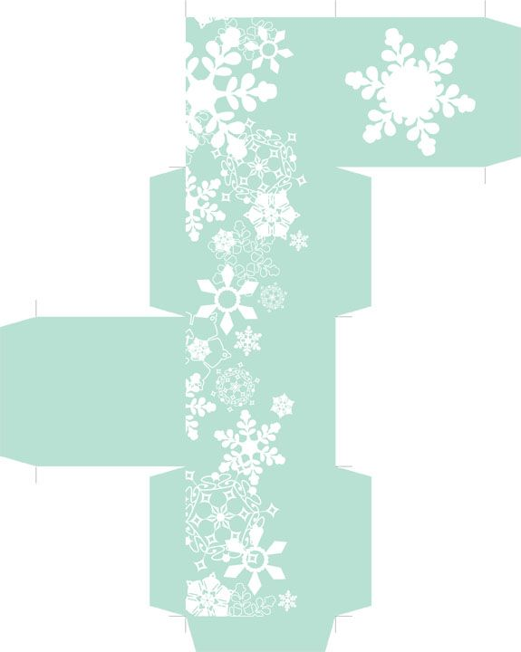 Snowflake Favor Box - Free PDF Printable. Final box measures about 2.25 inches after assembly.