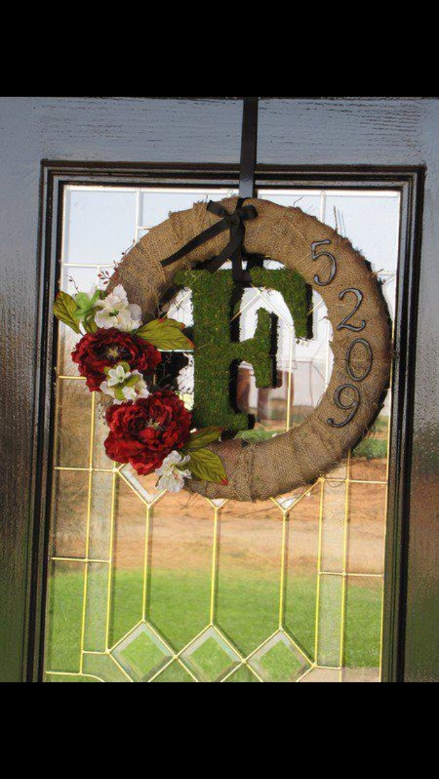 Burlap Wreath with address