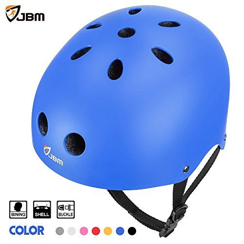 JBM international EPS foam Impact resistance & Ventilation Skateboard Helmet for Multi-sports, Small - Blue - JBM Multi Sports Helemt Our products are specially designed for Multi-sports activities, such as cycling, skateboarding, BMX biking, inline & roller skating. Safety protection is our primary concern and we will continue to provide the best products for our customers. Adjustable Straps These bike ...