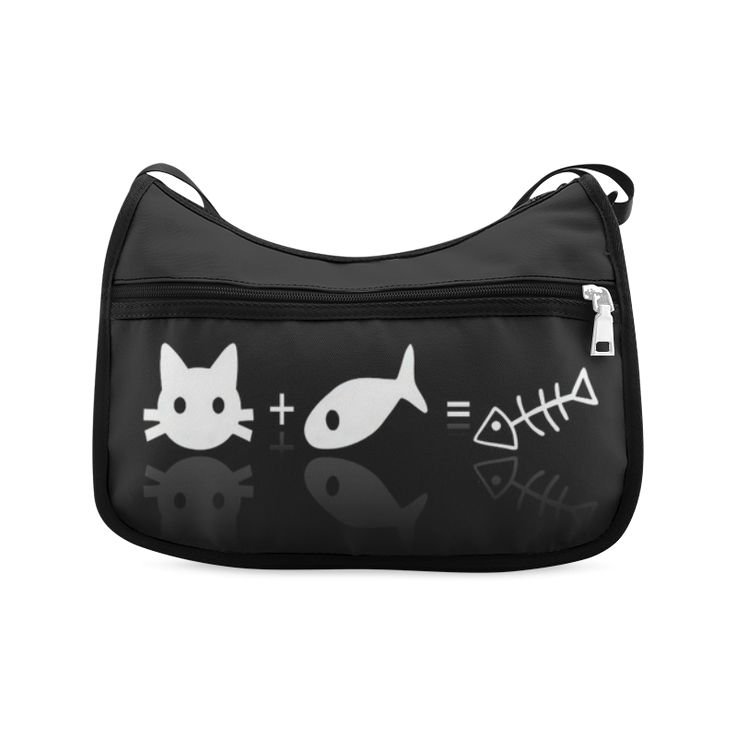 Funny Cover Facebook Cat And Fish Crossbody Bags (Model 1616)