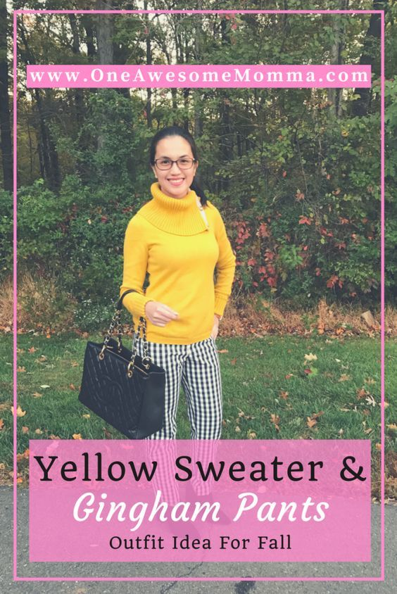 Yellow Sweater + Gingham Pants - One Awesome Momma - http://www.oneawesomemomma.com/2016/11/09/yellow-sweater-gingham-pants/