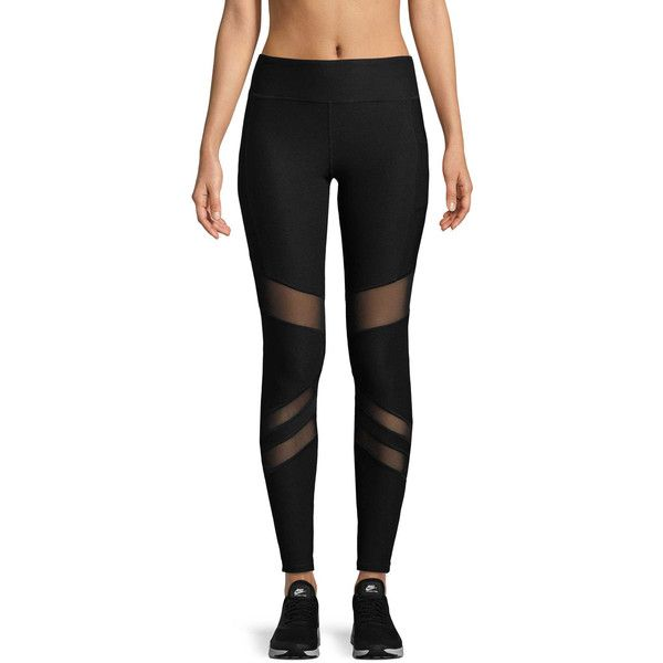 X by Gottex Women's CURVED POWER MESH LEGGING - Black, Size L ($35) ❤ liked on Polyvore featuring pants, leggings, black, elasticated waist trousers, mesh-panel leggings, elastic waist pants, elastic waistband pants and mesh pants