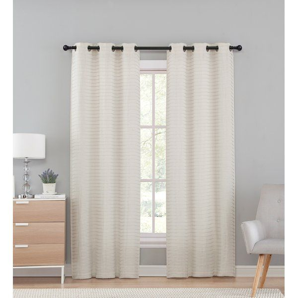The Marcus Solid Sheer Grommet/Eyelet Panel pair with its neutral color palette will be sure to help you decorate your living space. With it's sheer fabric allowing light to pass through as well as the pleated design you'll add a gentle touch of style to your space.