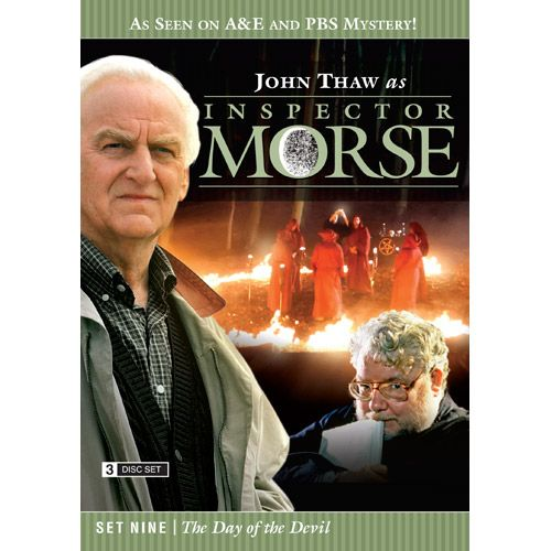 Inspector Morse Set Nine The Day of the Devil DVD he Wolvercote Tongue - A precious jewel is missing and Morse suspects foul play in the death of its owner. Stars Simon Callow and Kenneth Cranham .  Last Seen Wearing - When a privileged schoolgirl goes missing, Morse is convinced she has been murdered, even though there is no body. Stars Elizabeth Hurley and Peter McEnery .  The Settling of the Sun - Morse investigates the murder of a Japanese student in what seems to be a ritual killing…