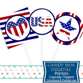 Celebrate that patriotic time of year! Use these red, white and blue, patriotic DIY cupcake toppers to show your patriotism. Can also be used as stickers.  Great for Fourth of July DIY party decor!