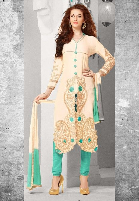 Cream & Turquoise Embroidered Satin Cotton Semistitched Salwar Suit