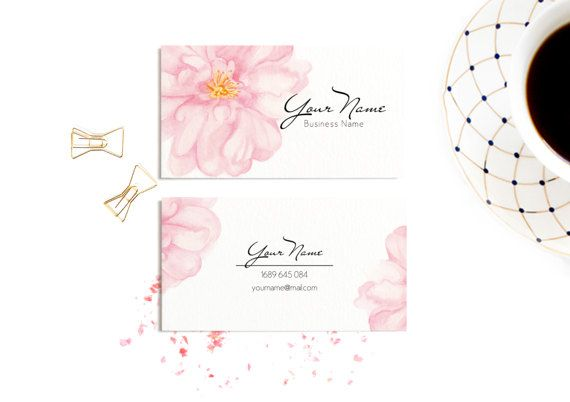 Watercolour business card Watercolour flowers от WhiteWildRose