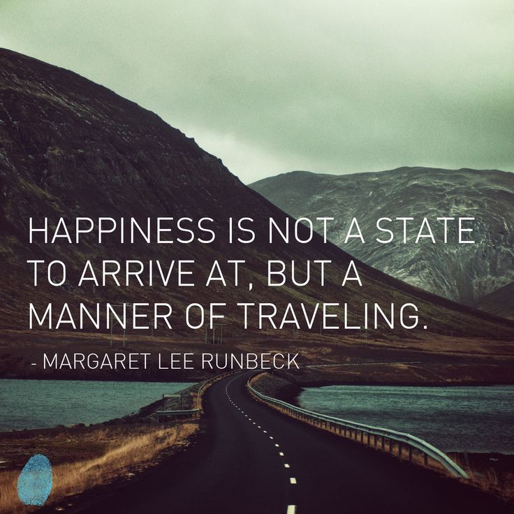 Happiness is not a state to arrive at, but a manner of traveling.