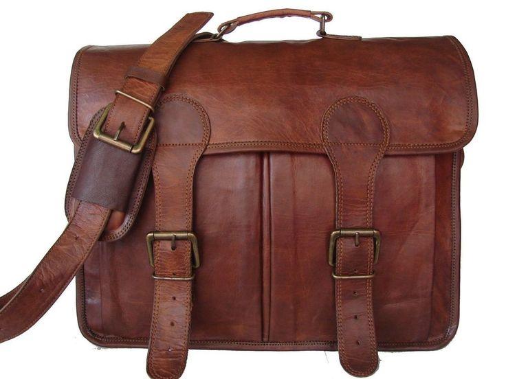 16 inch Mens Genuine Vintage leather laptop messenger computer briefcase bag #Handmade #MessengerShoulderBag