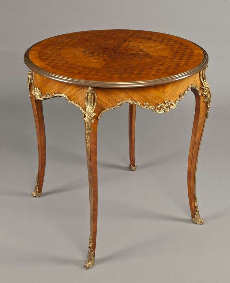 Awesome French Kingwood And Gilt Bronze Parquetry Round Side Table, 19th Century