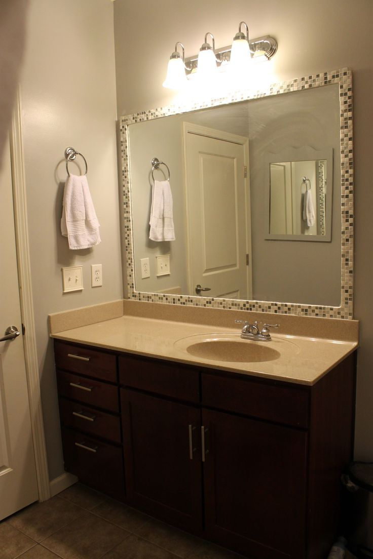 How To Frame A Mirror With Tile Bathroom Mirror Makeover Bathroom Mirrors Diy Bathroom Mirror Frame [ 1104 x 736 Pixel ]