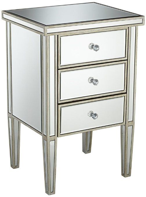 Amazon Com Antique Silver 3 Drawer Mirrored Nightstand