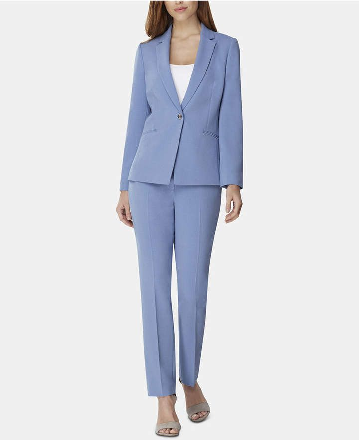 444fc3544227 Tahari Asl Petite One-Button Crepe Pantsuit in blue ice