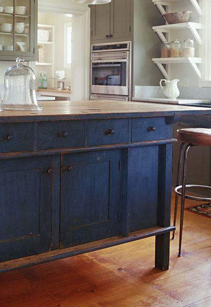 Pretty Indigo Island Blue Kitchen IslandBlue CabinetsKitchen