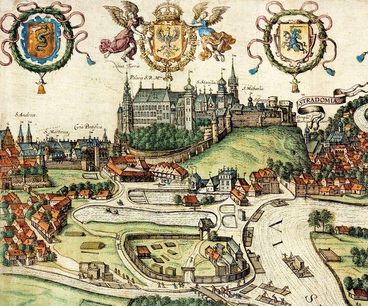 Wawel na widoku Krakowa, rycina w dziele G. Brauna i F. Hogenberda, Civitates Orbis Terrarum, rok 1617