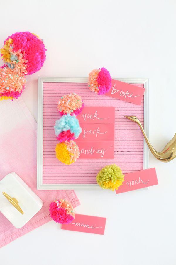 DIY acrylic pompom escort cards