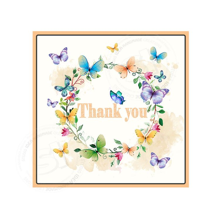 """INSTANT DOWNLOAD Elegant ButterfliesThank you Tags- 2.5"""" PRINTABLE Spring Tag - Floral wreath with Butterflies square tags-Digital file by StudioIdea on Etsy"""